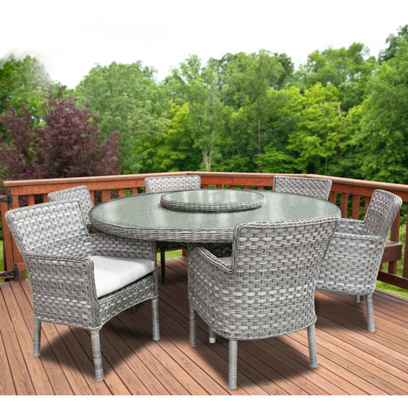 """Lorca Outdoor 7pc Dining Set with 6 Arm Chairs and 67"""" Round Table"""