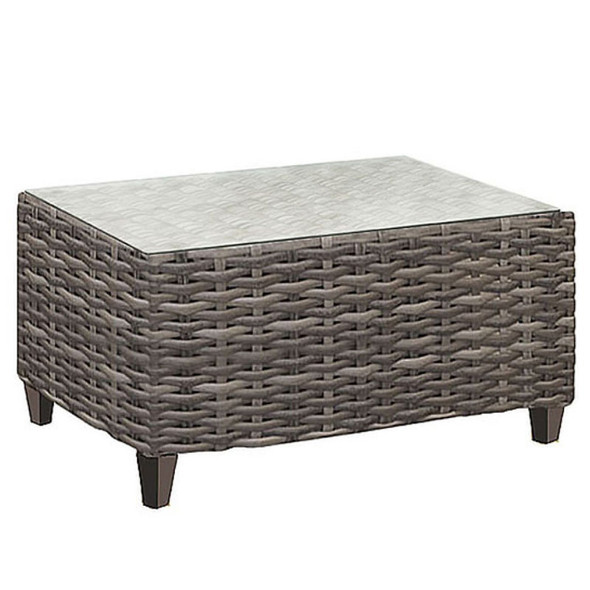 Edgewater Outdoor Rectangular Coffee Table with a glass top