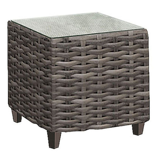 Edgewater Outdoor Square End Table with a glass top