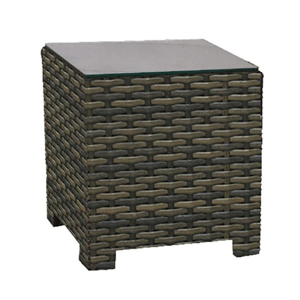 Lakeside Outdoor Square End Table with glass top