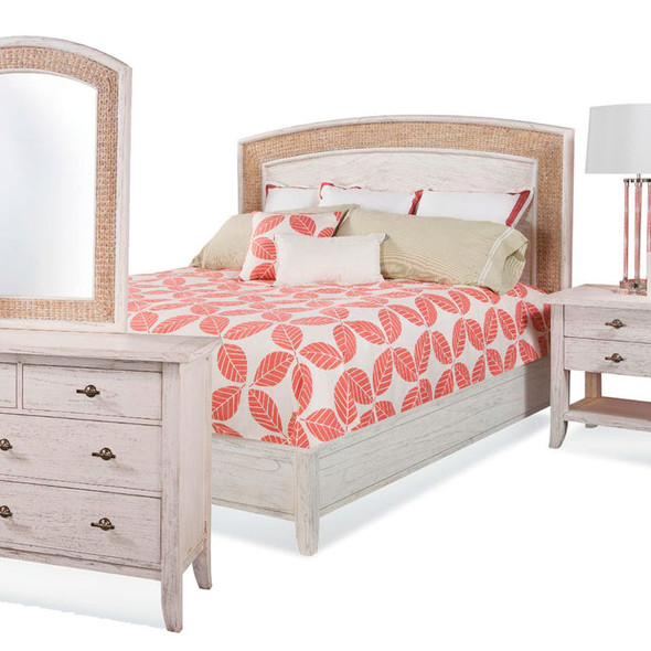 Fairwind 4 piece Arched Seagrass Bedroom Set with Complete Bed