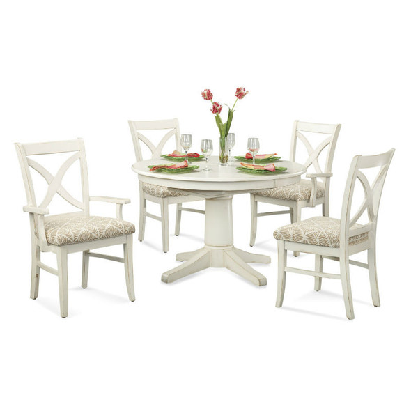 """Hues 5 piece 42"""" Round Dining Set in Antique Cottage White finish"""