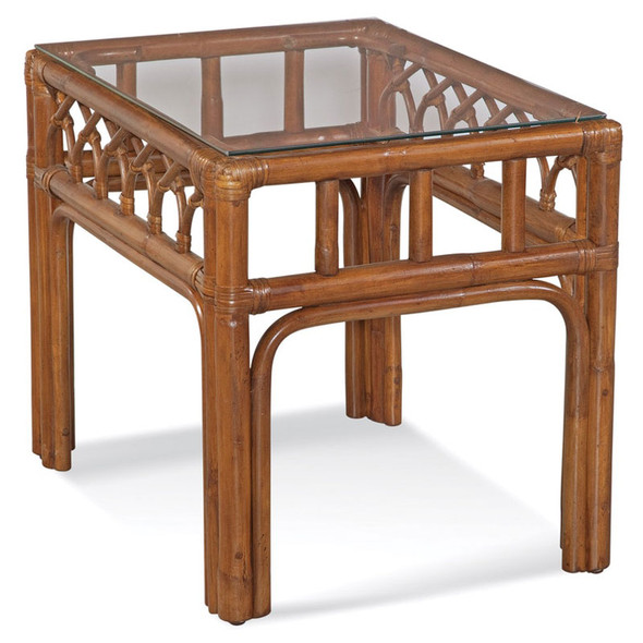 Edgewater End Table with Glass Top in Havana finish