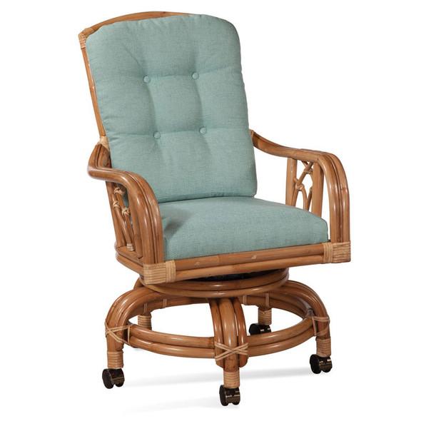 Edgewater High Back Swivel Rocker Chair in fabric '0352-54 B' and Havana finish