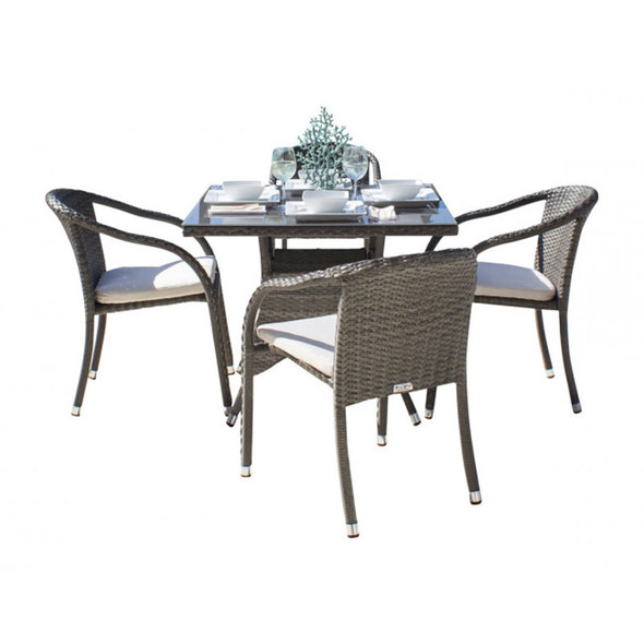 Ultra Outdoor 5 peace Dining Set with Stackable Arm Chairs