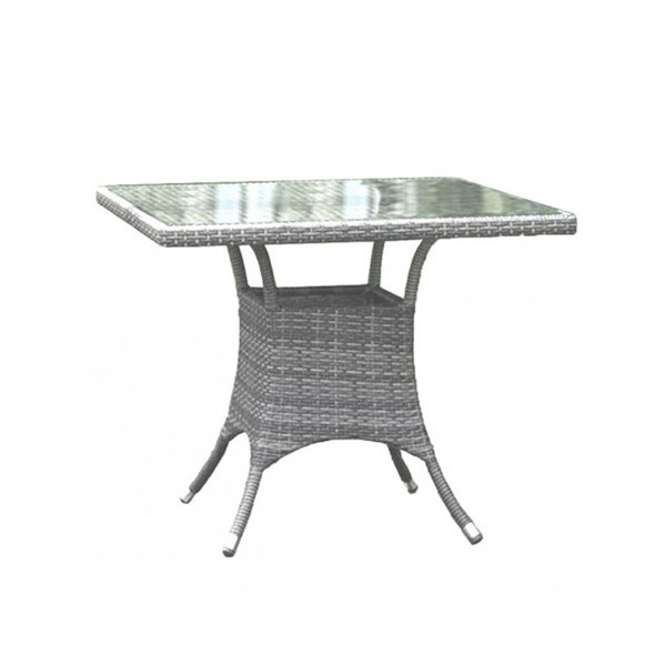 """Athens Outdoor 36"""" Square Dining Table with Glass"""