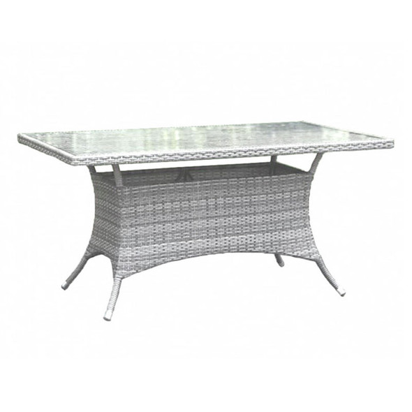 """Athens Outdoor 36"""" x 60"""" Rectangular Dining Table with Glass"""