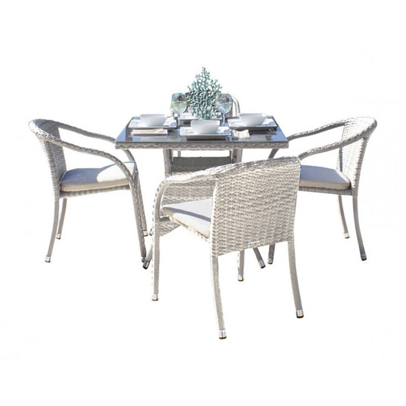 Athens Outdoor 5 piece Dining Set with Stackable Arm Chairs