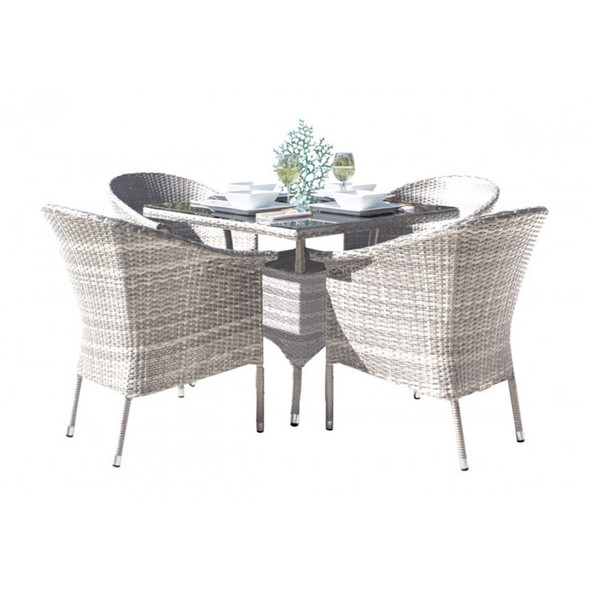 Athens Outdoor 5 piece Dining Set with Arm Chairs
