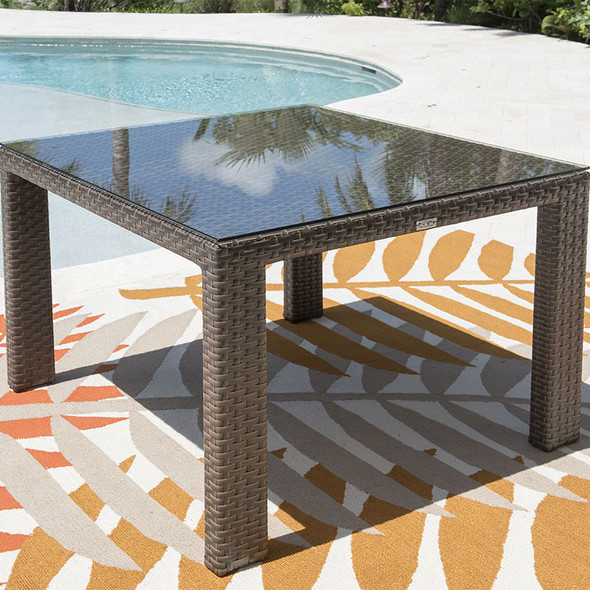 """Fiji Outdoor 47"""" Square Woven Dining Table with glass top"""