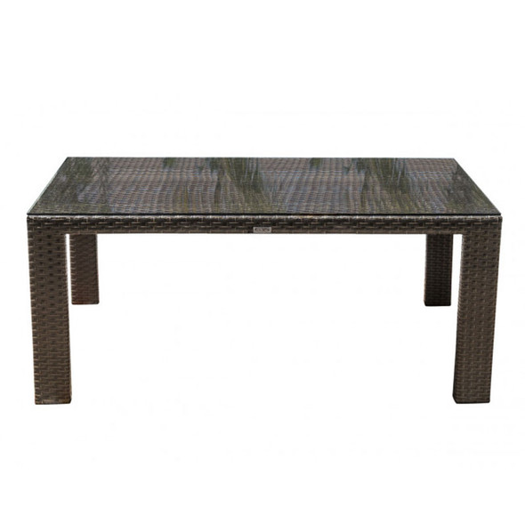 Fiji Outdoor Rectangular Woven Dining Table with a glass top