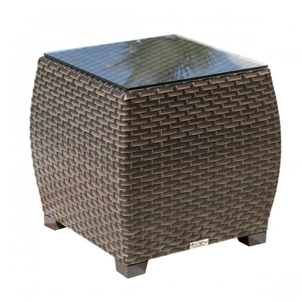 Fiji Outdoor End Table with glass top