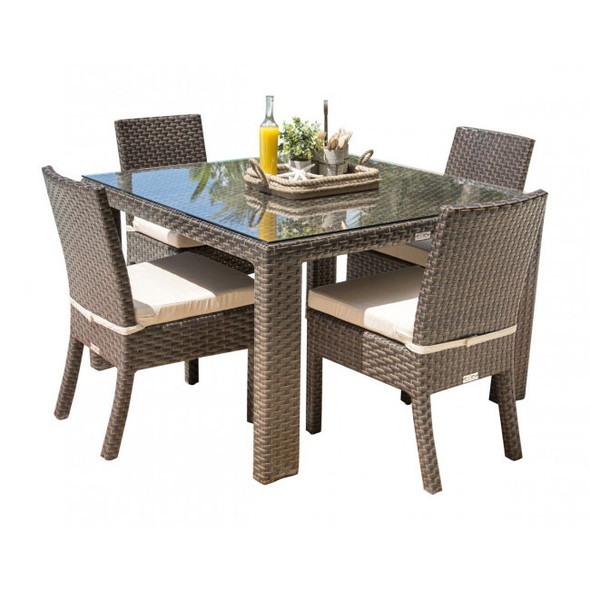 Fiji Outdoor 5 piece Dining Set with Side Chairs