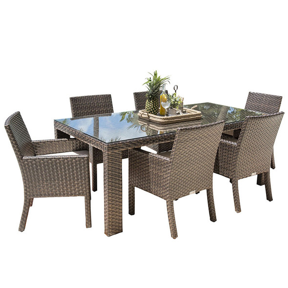 Fiji Outdoor 7 piece Dining Set with Arm Chairs
