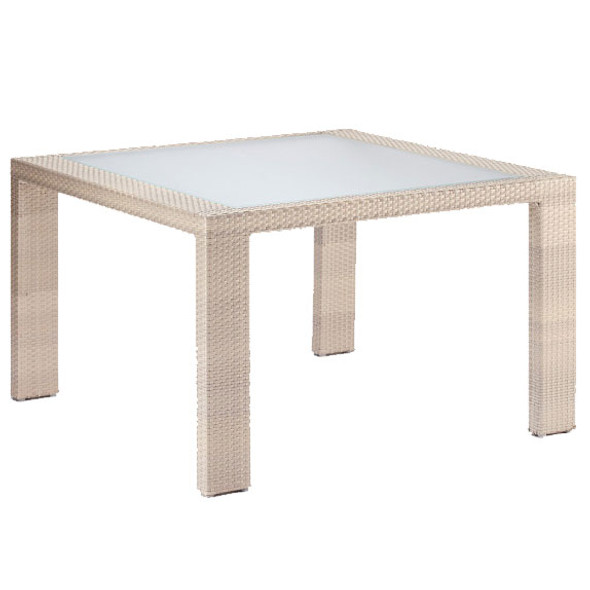 Rubix Outdoor Square Woven Dining Table with Inset Tempered Glass