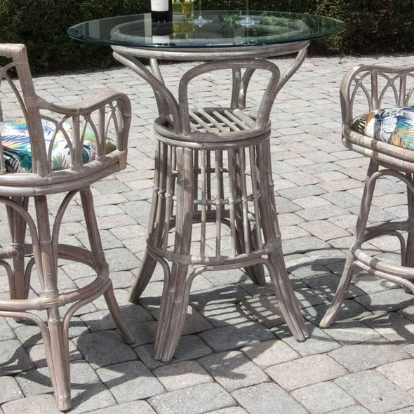 Cuba Pub Set w/ Swivel Barstools with Arms in Rustic Driftwood Finish