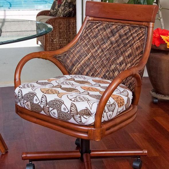 Bermuda Tilt Swivel Caster Chair in Sienna finish