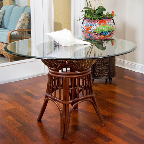 """Bermuda Dining Table with 48"""" Round Glass  in Sienna finish"""