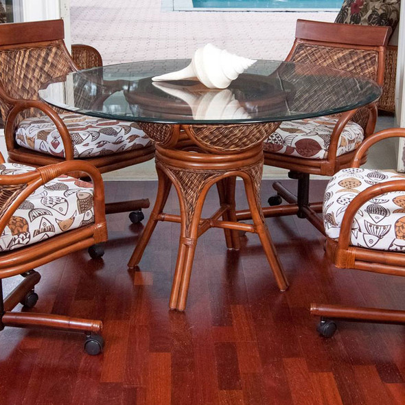 Bermuda 5 piece Dining Set with Caster Arm Chairs in Sienna finish