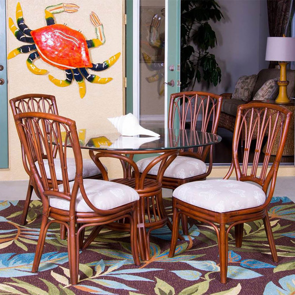 Cuba 5 piece Dining Set with Side Chairs in Sienna Finish