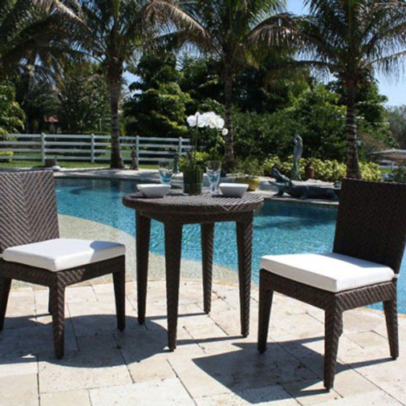 Soho Outdoor 3 piece Bistro Set with 2 Side Chairs with cushions