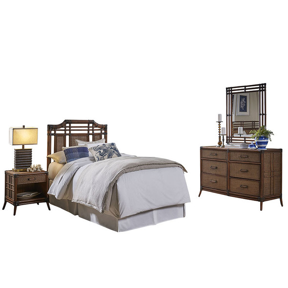 Palm Cove 4 piece Twin Bedroom Set with 6 Drawer Dresser