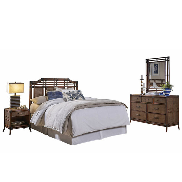 Palm Cove 4 piece Queen Bedroom Set with 7 Drawer Dresser