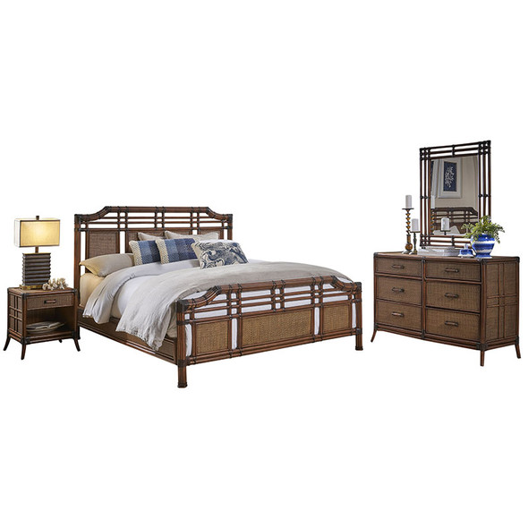 Palm Cove 6 piece King Complete Bedroom Set with 6-drawer dresser