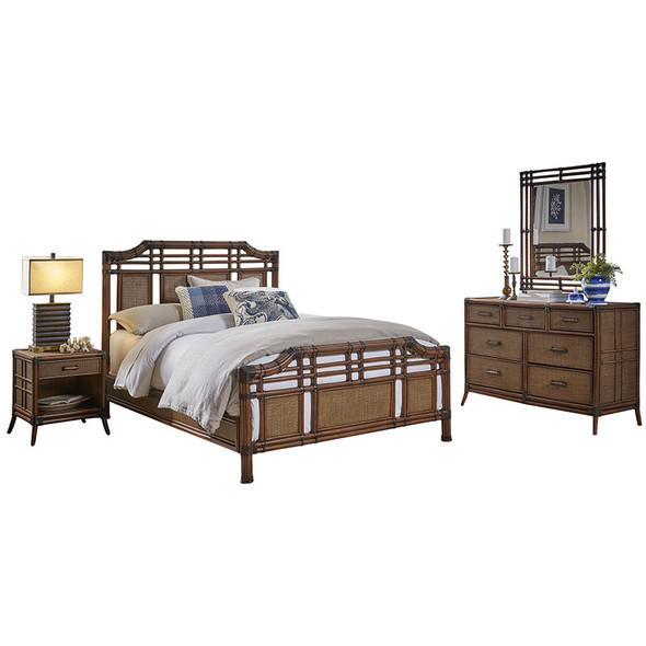 Palm Cove 6 piece Queen Complete Bedroom Set with 7-drawer dresser