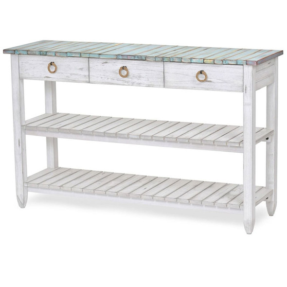 Picket Fence Entertainment Center in Distressed Bleu/White finish