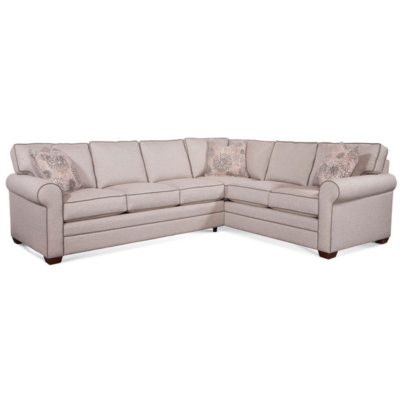 Bedford LSF Two-Piece Corner Sectional Set in fabric 0851-73 A and pillow fabric 701-14 G and Havana finish
