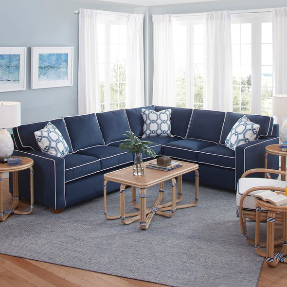 Gramercy Park LSF Two-Piece Corner Sectional Set in fabric '0912-61 C' with contrast welt '0313-91 B' and pillow fabric '0446-61 M' with Havana finish