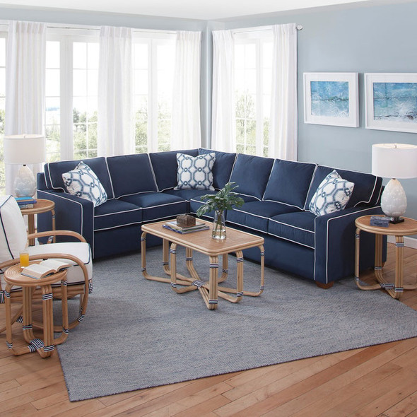 Gramercy Park RSF Two-Piece Corner Sectional Set  in fabric '0912-61 C' with contrast welt '0313-91 B' and pillow fabric '0446-61 M' with Havana finish