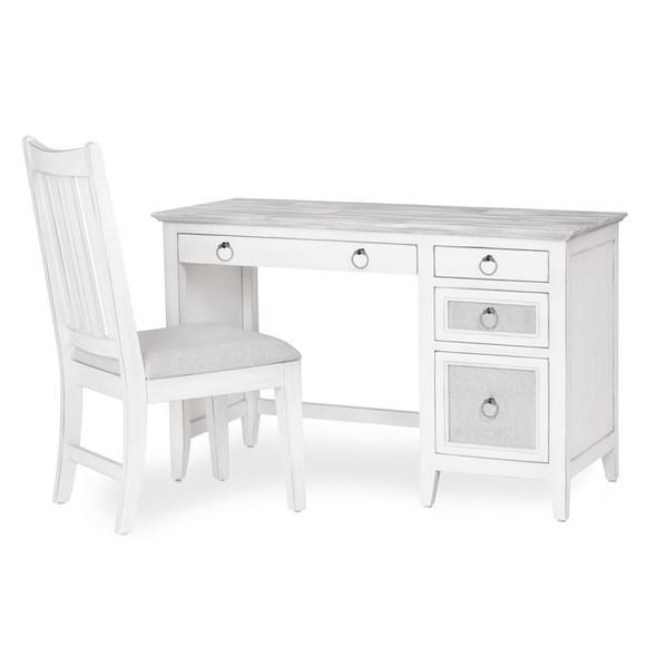 Captiva Island Desk & Chair Set in Grey Wash/Blanc finish