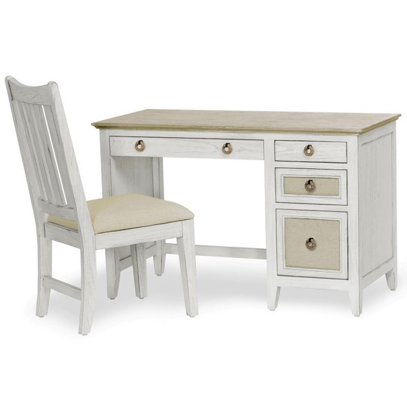 Captiva Island Desk and Chair Set in Beach Sand/Weathered White finish