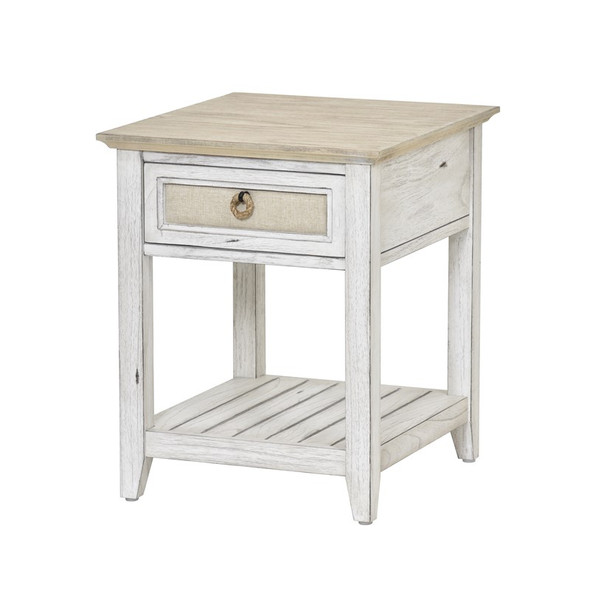 Captiva Island End Tablee in Beach Sand/Weathered White finish