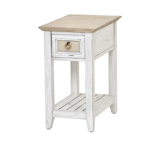 Captiva Island Chairside Table in Beach Sand/Weathered White finish