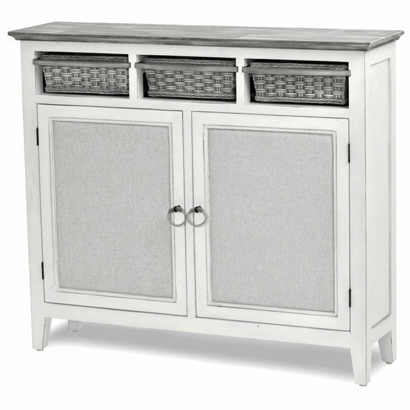 Captiva Island Entry Cabinet with Baskets in Gray Wash/Blanc finish