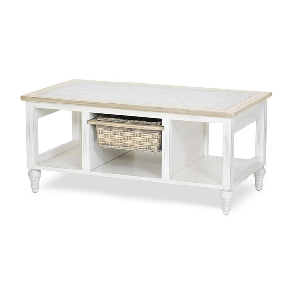Island Breeze 1-Basket Coffee Table in Weathered Wood/White finish