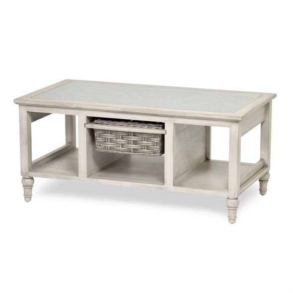 Island Breeze 1-Basket Coffee Table in  Gray/Distressed White finish