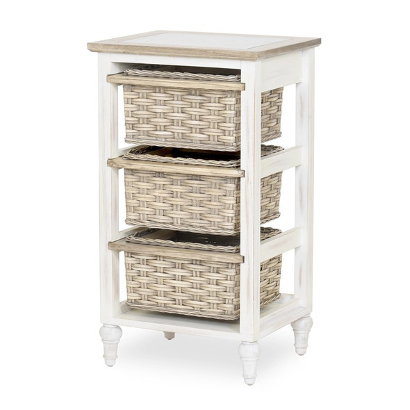 Island Breeze 3-Basket Storage Cabinet in Weathered Wood/White finish