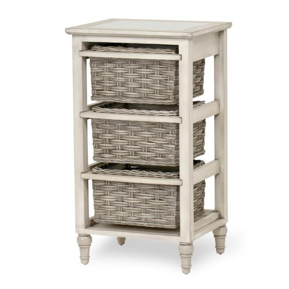 Island Breeze 3-Basket Storage Cabinet in  Gray/Distressed White Finish