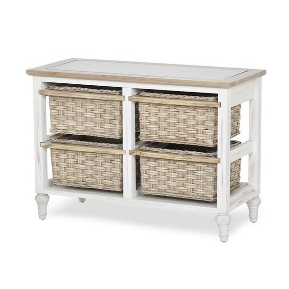 Island Breeze 4-Basket Horizontal Storage Cabinet in Weathered Wood/White finish