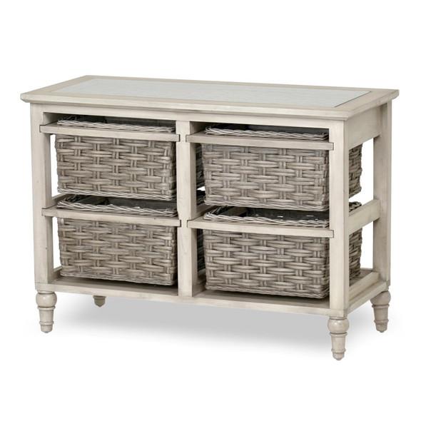Island Breeze 4-Basket Horizontal Storage Cabinet in  Gray/Distressed White finish