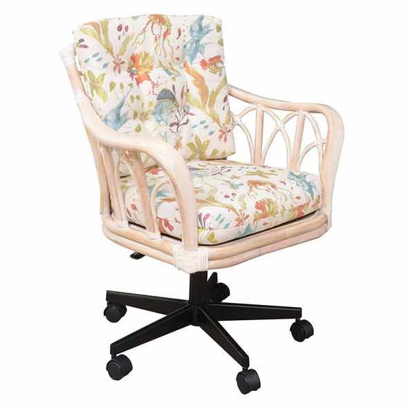 Cuba Tilt Swivel Caster Office Chair in Washed Linen Finish and Submarino Tropical Fabric