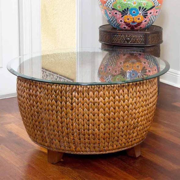 """Key Largo Round Cocktail Table with 36"""" Glass in Sienna finish"""