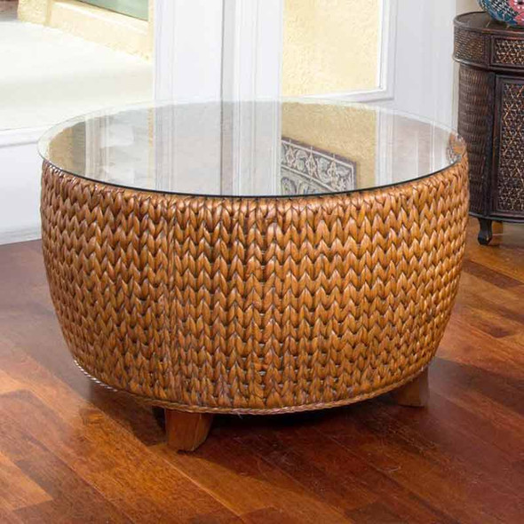 Key Largo Round Cocktail Table with Glass in Sienna finish