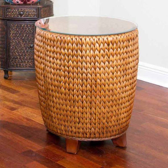 Key Largo Round End Table with Glass in Sienna finish