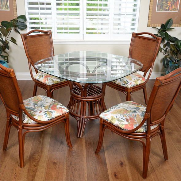 Serengeti Dining Side Chairs in Sienna finish and Tuvalu Sunset fabric