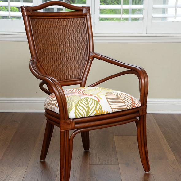 Serengeti Dining Arm Chair in Sienna finish and Tatum Foliage fabric